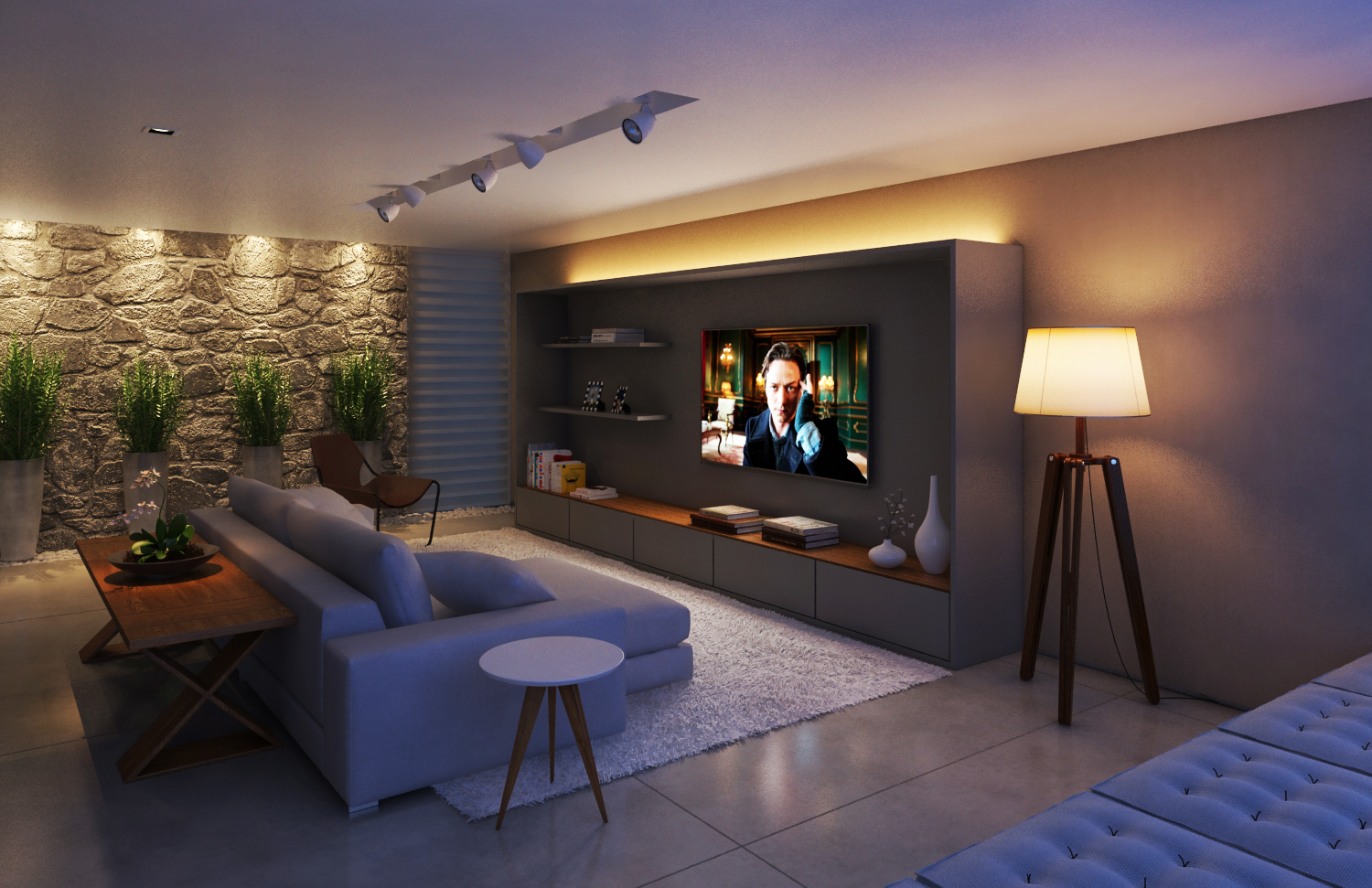 Home theater na sala de estar id ias interessantes para o design do quarto - Sala home theatre ...